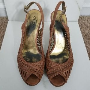 Guess by MarcianoPeep Toe Slingback Heels Size 5.5